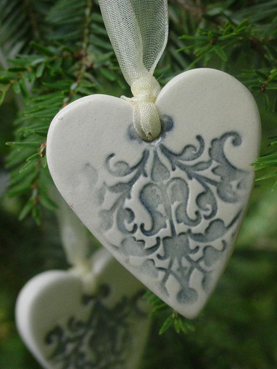 Fifty Embellished Ceramic Hearts Wedding by GardenSpellGhostTale, $100.00 i could make these!!!!!!!!