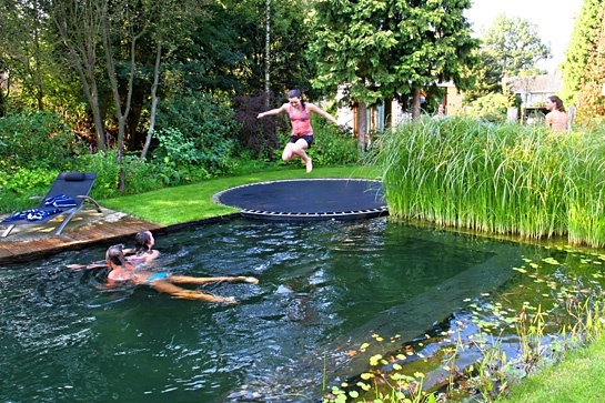 How fun would this be. Love the pond-like pool and in-ground  trampoline