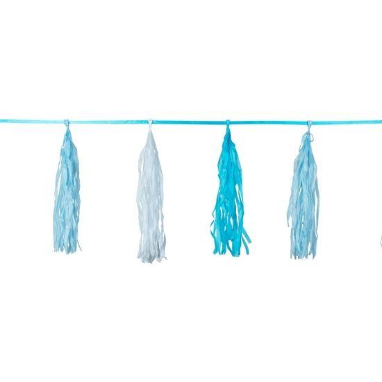 Deze wit met blauwe kwasten slinger heeft een totale lengte van 3 meter. De 9 kwastjes zijn gemaakt van papier en deze zitten vast aan een zijden lintje. De lengte van de kwasten is 50 cm.