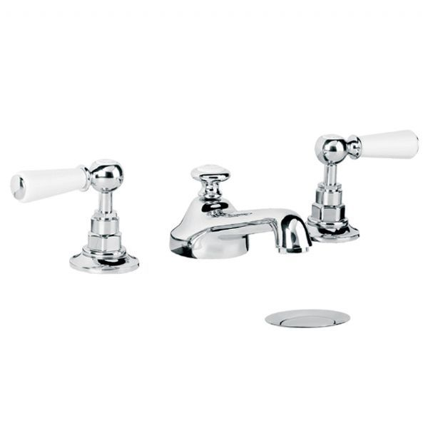 WL1220 Lefroy Brooks Classic white lever 3-hole basin mixer tap with pop-up waste £585