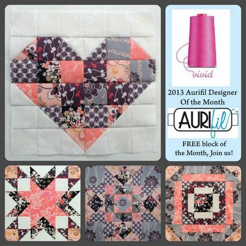 Aurifil DOM free jan to apr blocks: Patchwork Quilts, Blocks Tutorials, Quilts Blocks, Heart Quilts, Aurifil Design, Gingers Monkey, Aurifil Dom, Quilts Ideas, Aurifil Thread