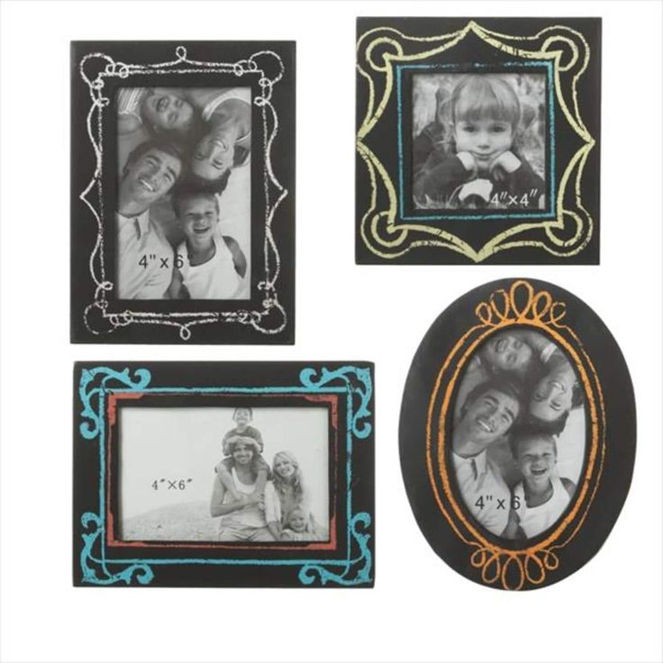 Pack of 4 Black Rectangular and Oval Faux Chalkboard Picture Frames 6