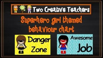 Two Creative Teachers - Superhero Girls Theme Behaviour Management Chart This product contains posters that include the words: outstanding effort, awesome job, great work, ready to learn, stop and think, danger zone, teacher choice and parent contact. If you like the theme and have different words in mind, please email us and we can adapt and send you a copy.How To Use This Resource:Display this in the classroom or hang it in the room.