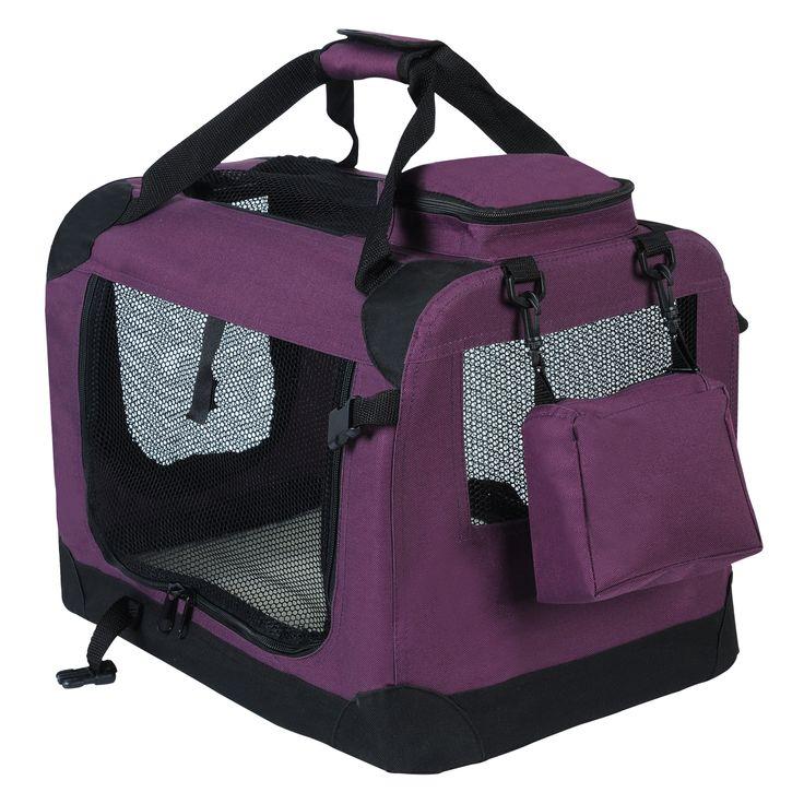 WOLTU HT2025vl Hundebox Hundetransportbox Auto Transportbox Reisebox Katzenbox mit Hundedecke faltbar 49,5x34,5x35cm, Violett… | Woltu