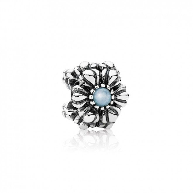 Pandora Silver And Aquamarine Gemstone Floral March Birthstone Bead QR048