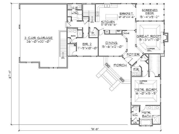 L-shaped Floor Plan with angled front door