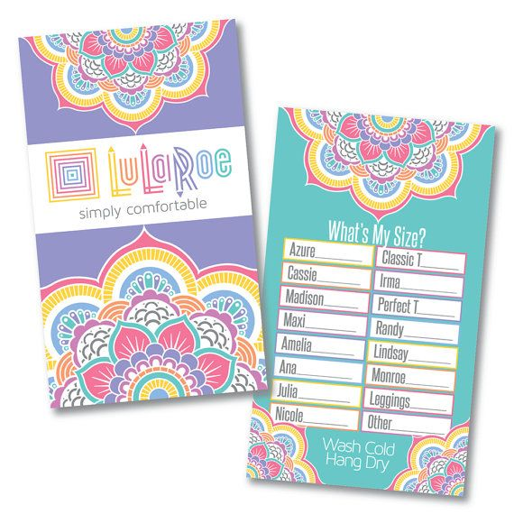 """LuLaRoe """"What's My Size?"""" Card - Home Office Approved Fonts & Colors- INSTANT DOWNLOAD digital files - Clothing Size Card"""