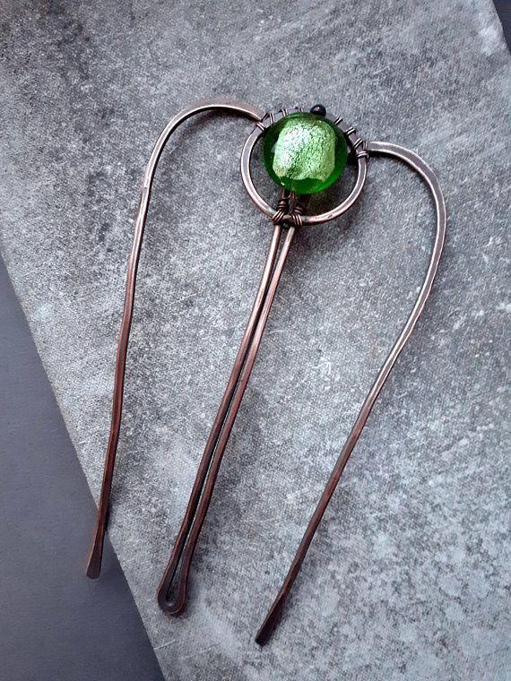 Green Hair stick hair comb hair fork copper hair stick boho bun pin ...