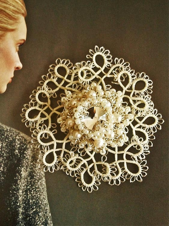 Hand Tatted Silver Crochet Lace Wedding Brooch Rossette Nurbanu-Made To Order. $78.00, via Etsy.