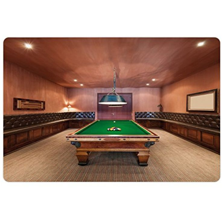 Modern Pet Mats for Food and Water by Ambesonne, Entertainment Room in Mansion Pool Table Billiard Lifestyle Photo Print, Rectangle Non-Slip Rubber Mat for Dogs and Cats, Cinnamon Brown Green *** You can find out more details at the link of the image. (This is an affiliate link) #DogFeedingWateringSupplies
