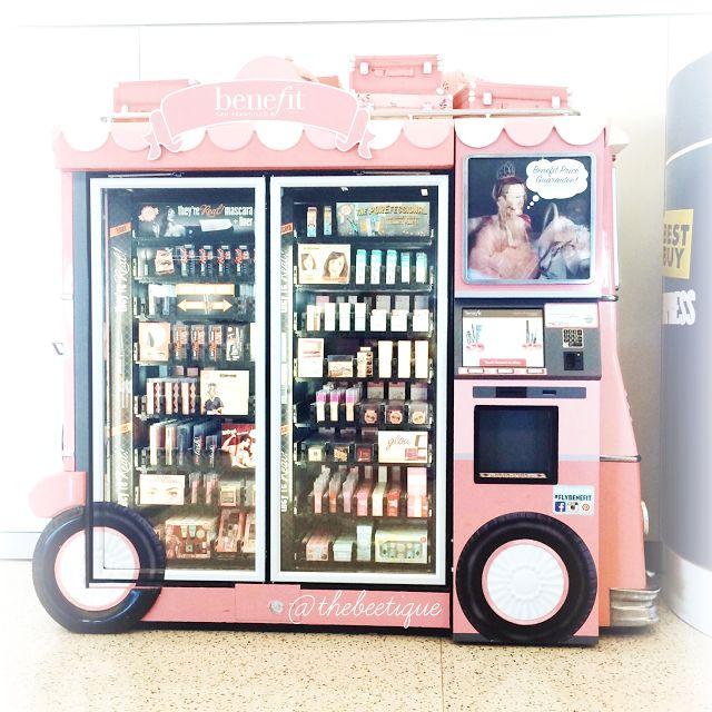 Futuristic Branding:  Benefit Cosmetics Vending Machine! Benefit on the go. Spotted at JFK Airport - via thebeetique.blogspot.com