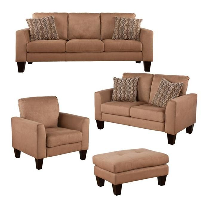 Coleman 4 Piece Sofa Loveseat Chair And Ottoman In Mocha