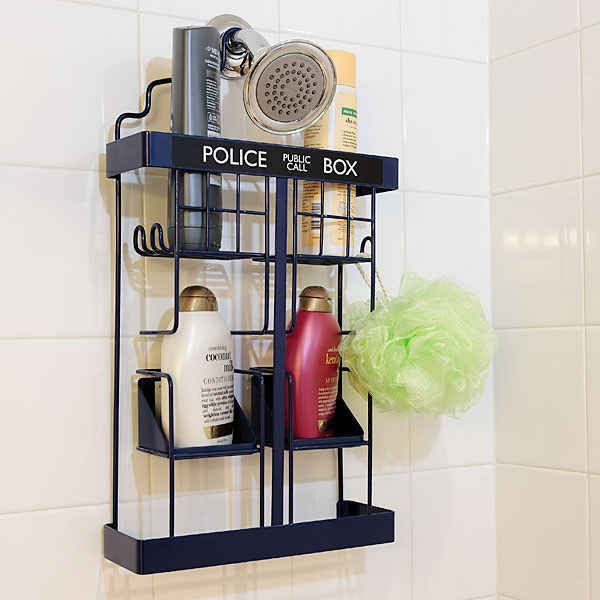 This Tardis shower rack is amazing. I must have it.