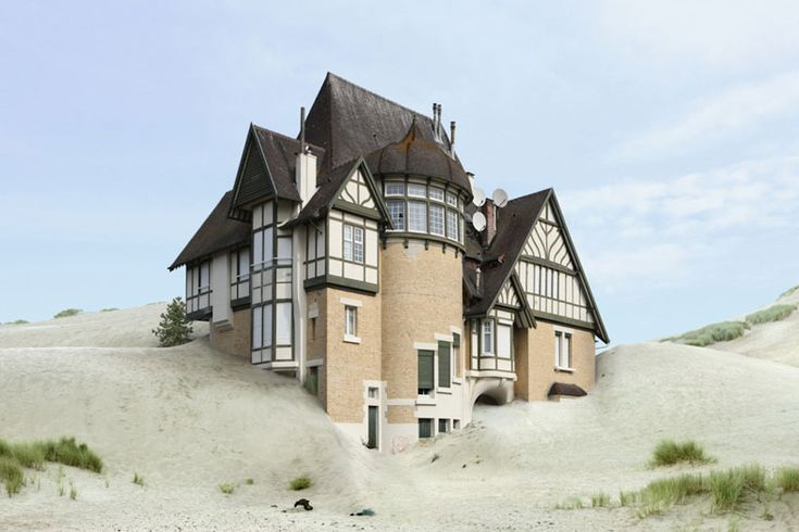 Filip Dujardin- a House Lost in the Sand. We loved the contrast between the sandy bottom colours which emphasise the theme compared the the normal darker shades on top of the house.