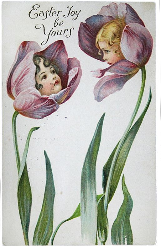 Tulip girls Easter card