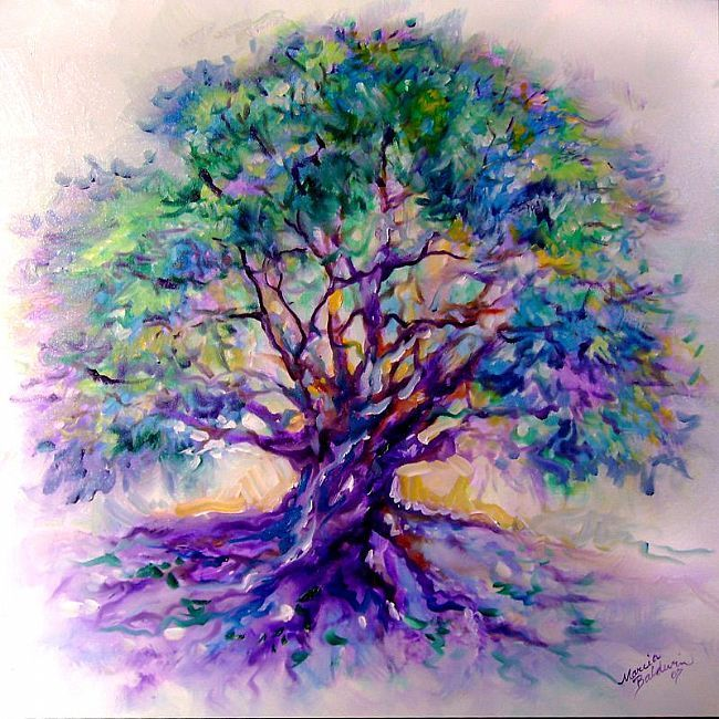 """paintings of trees   TREE OF LIFE~PurpleRain"""" - by Marcia Baldwin from Abstracts"""