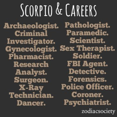 """Scorpio Career Ideas - totally read that as """"criminal"""" and not """"criminal investigator"""" haha!"""