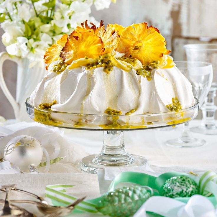 Easy passionfruit and pineapple pavlova