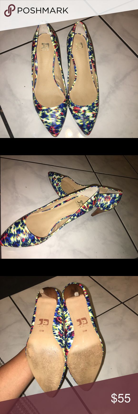 """Joe's Multi Color Pumps Joe's multi-colored, geometric print, approx 3"""" heel, pump, gently worn once, normal wear on soles, very good condition, size 6 1/2M, without box. Joe's Jeans Shoes Heels"""