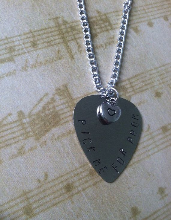 Pick Me For Prom Hand Stamped Guitar Pick by APrincessPrerogative