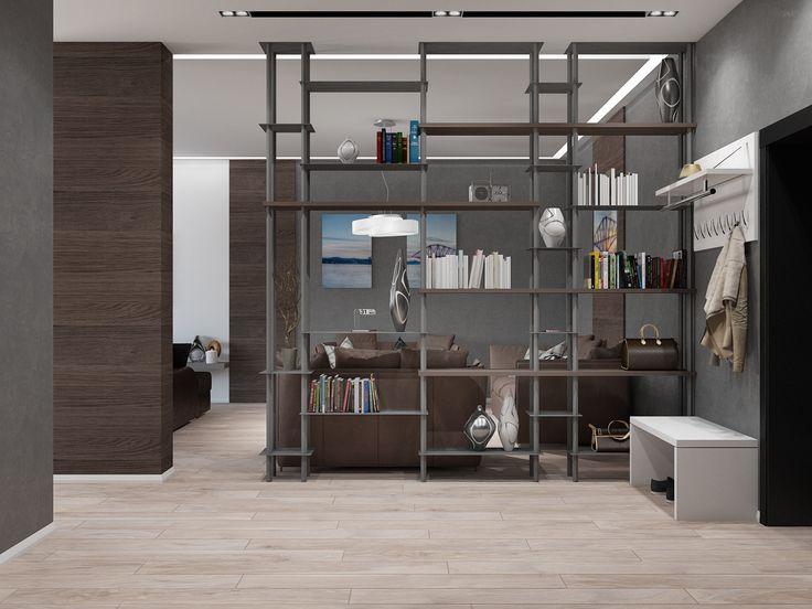 Дизайнерский стеллаж в прихожей был спроектирован руководителем студии Tatiana Zaitseva Design индивидуально для заказчика