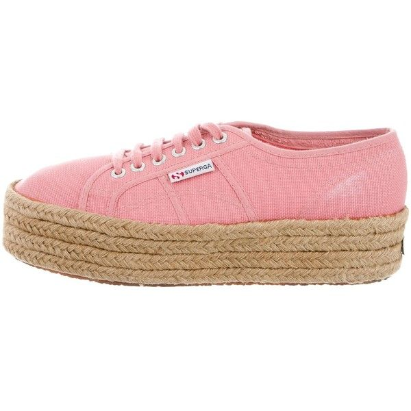 Pre-owned Superga Canvas Espadrille Sneakers ($45) ❤ liked on Polyvore featuring shoes, sneakers, pink, pink espadrilles, pink shoes, superga sneakers, canvas lace up sneakers and lace up sneakers
