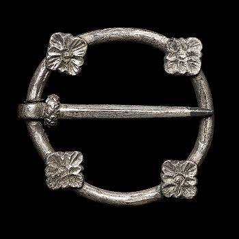 Brooch. 3,3 cm diameter.  1250-1349. Most likely late 13th century. Silver.  Found in Bohuslän, Sweden