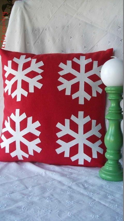 Hópelyhek - Vidéki romantika párnahuzat, Karácsonyi, adventi apróságok, Karácsonyi dekoráció, Meska
