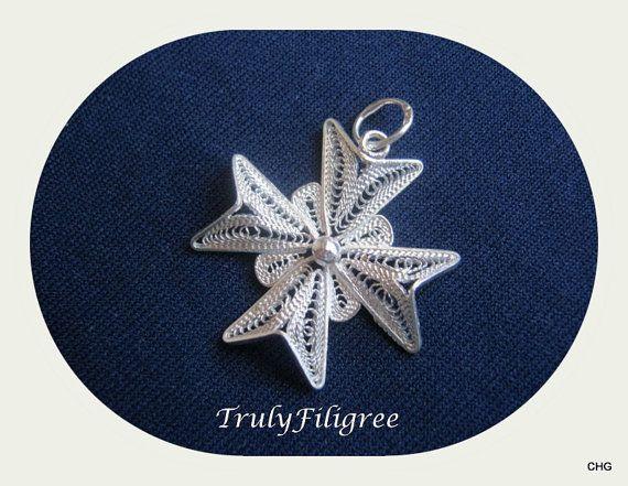 Handmade Sterling Silver Maltese Cross Filigree by TrulyFiligree