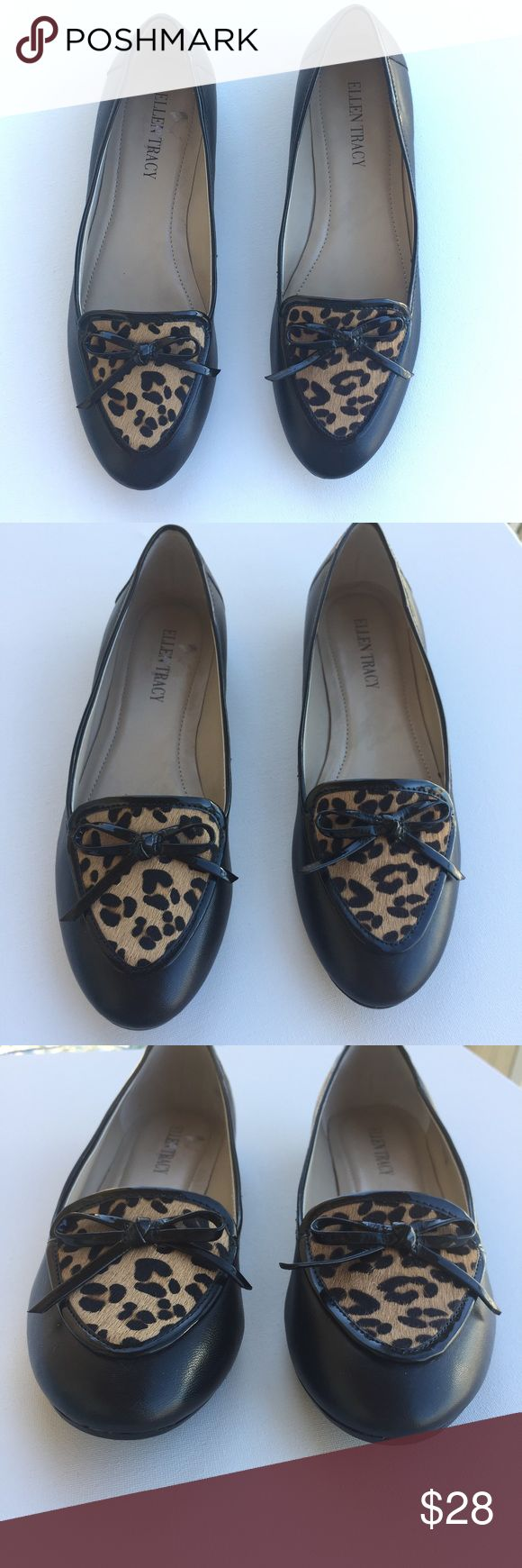 """💲⬇️Ellen Tracy Cheetah Print Flats Size 6.5M ✨1/4"""" Heel ✨Rubber Soles ✨Leather Upper ✨""""Alpine""""  ✨Size 6.5 M ✨Cheetah Hair  ✨In Perfect Condition **I just need to wipe the bottoms clean since I noticed they got a little dusty as you can see in final photo. Ellen Tracy Shoes"""