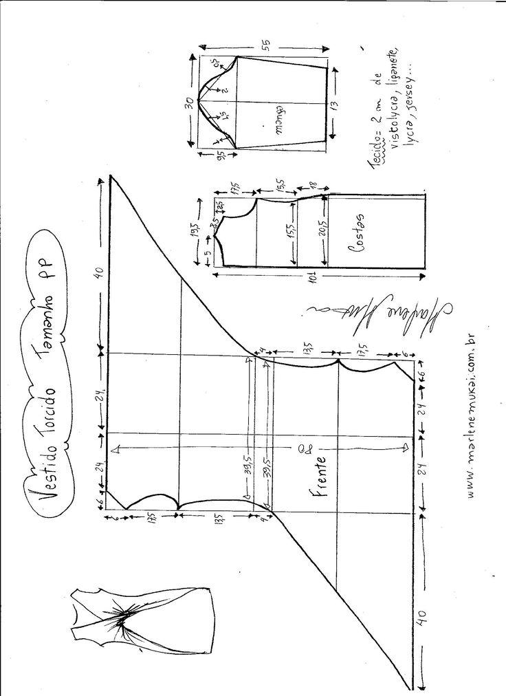Esquema de modelagem de Vestido Blusa com drapeado Torcido tamanho PP.