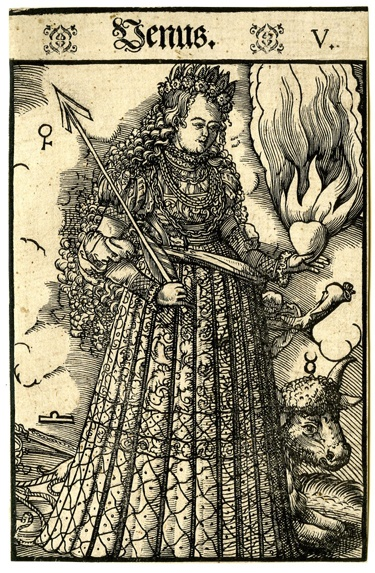 """This woodcut depicts Venus from the """"Seven Planets"""" (Septem Planetæ), one of our modern star signs. It dates from between 1550-70."""