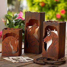 King Ranch Horse Candle Holder Set