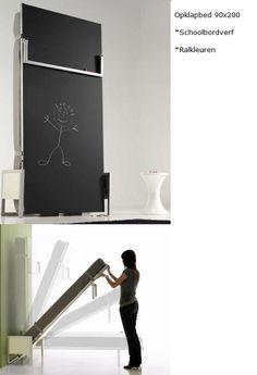 Opklapbed Cubed een vertikaal of horizontaal bed met schoolbord voor leuke kindertekeningen of voor het maken van sommen  :-) *ook achterzijde in ralkleuren mogelijk  *kinderkamer een logeerbed voor de oppas..