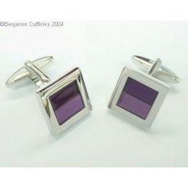 Two Purple Rectangles Cufflinks - A smart set of two tone purple cufflinks.