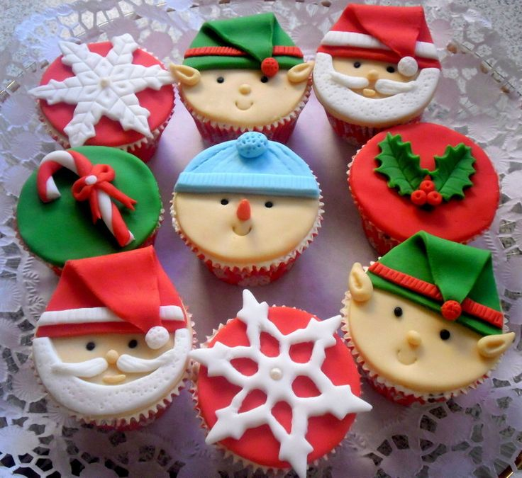 Christmas Cupcake Fondant Topper Edible, Santa - Elf - Snowman - Holly Μistletoe- Candy Cane - Snowflake, Christmas Party Decoration, 6 pcs by SweetCakeByAnastasia on Etsy https://www.etsy.com/listing/251816216/christmas-cupcake-fondant-topper-edible