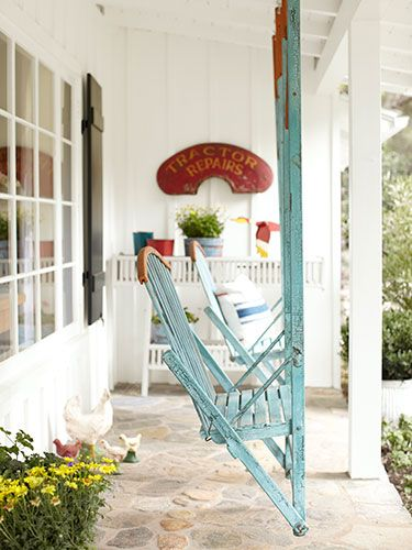 The gliders on this California ranch's front porch date to the 1930s. Decorating Ideas - Country Living
