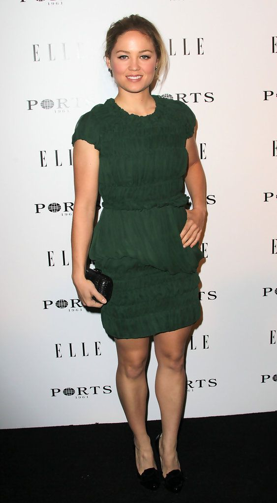 Erika Christensen Cocktail Dress - Erika dons a ruched green cocktail dress for the Elle dinner party.