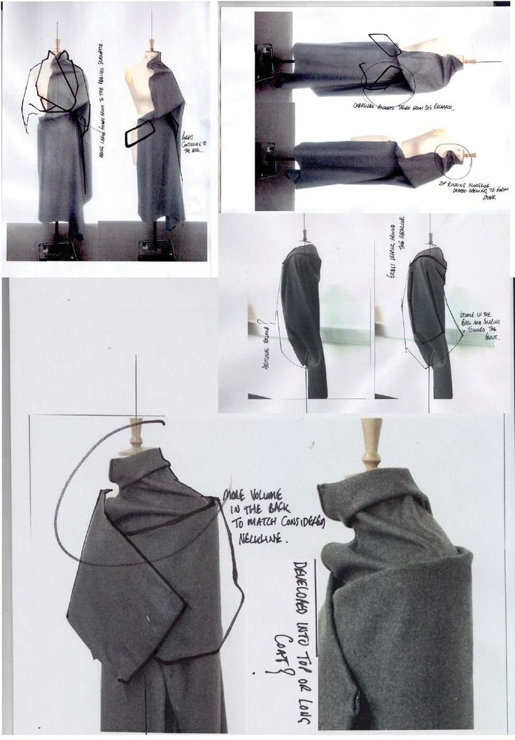 Fashion Sketchbook page with draping experiments, fashion design development // Andrew Voss