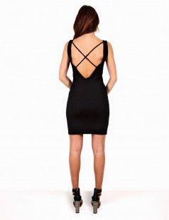 Cross over back bodycon black dress