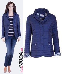 Štýlova krátka prešívaná dámska bunda pre moletky v trendovej modrej farbe - trendymoda.sk