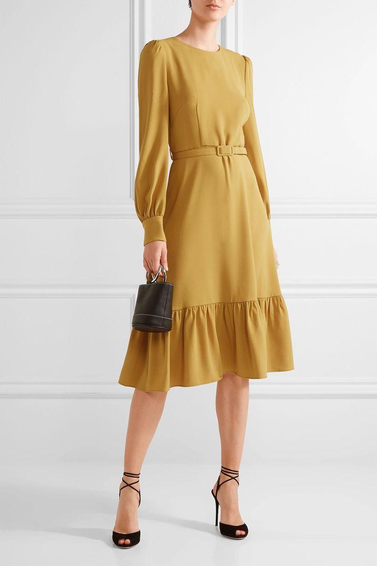 Co | Belted ruffled crepe midi dress | NET-A-PORTER.COM