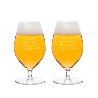 """The personalized Riedel Veritas Beer Glass is a must-have for any beer          aficionado. Crafted from fine crystal, this elegant glass with its modern designwill elevate your beer drinking experience. Engrave a name, monogram or special message on the front and back of the glass.                                     <br><br>                                                                        -H: 6.25""""<br>                                                            ..."""