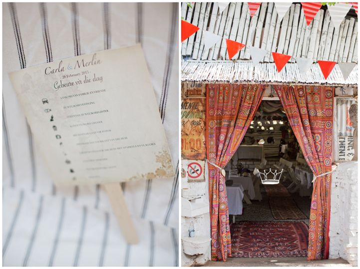 Wedding venue entrance with big Indian curtain and festive bunting