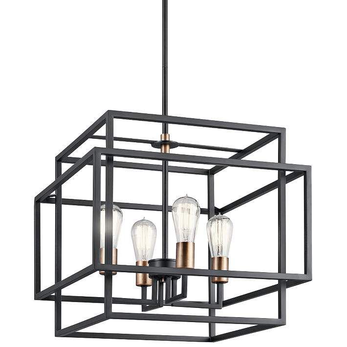 "Kichler Taubert 18""W Black Steel Open-Cube 4-Light Pendant - #18C69   Lamps Plus"