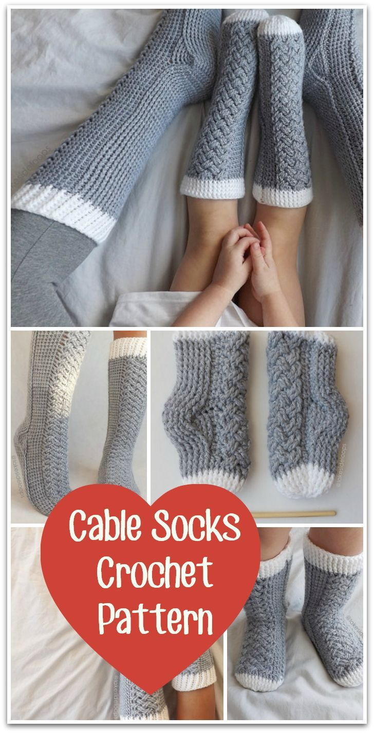 These cable socks look so comfy! color variations are endless! #crochet #pattern #ad #diy #yarn