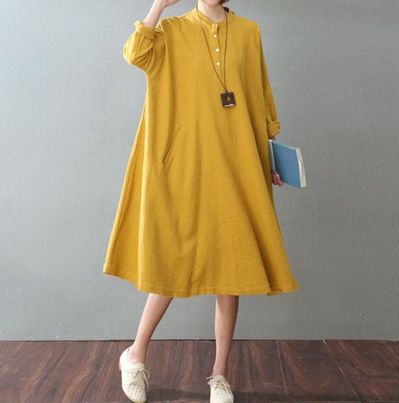 spring Oversize women dress Loose maternity dress Long shirt dress In yellow/ white
