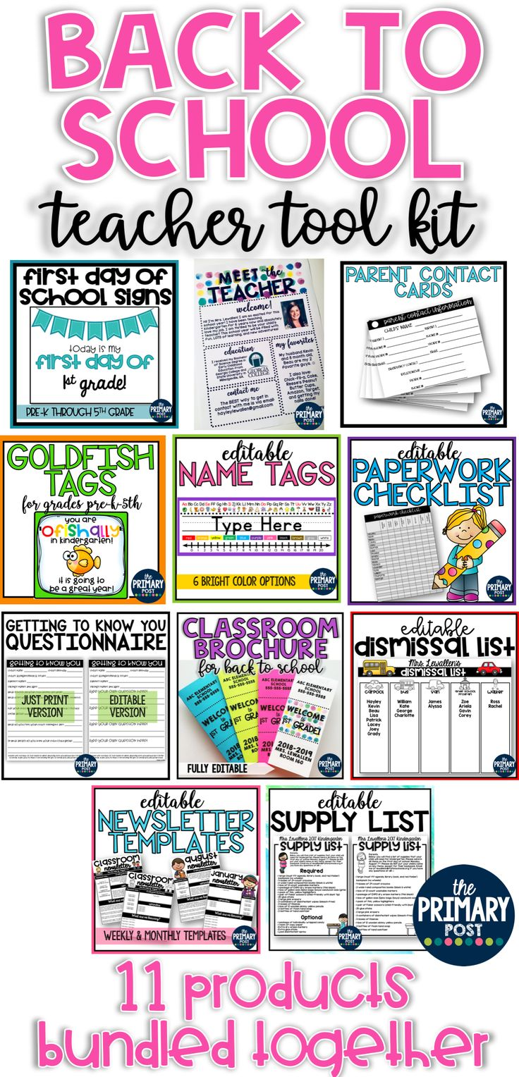 EDITABLE Back to School Brochure for Classroom Information EDITABLE Classroom Supply List EDITABLE Dismissal List Templates EDITABLE Meet the Teacher Watercolor Template EDITABLE Name Tags EDITABLE Paperwork Checklist EDITABLE Parent Questionnaire- getting to know you EDITABLE Classroom Newsletter Templates Parent Contact Information Cards Goldfish Treat Tags First Day of School Signs