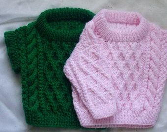 PDF knitting pattern for aran cable sweater for baby or