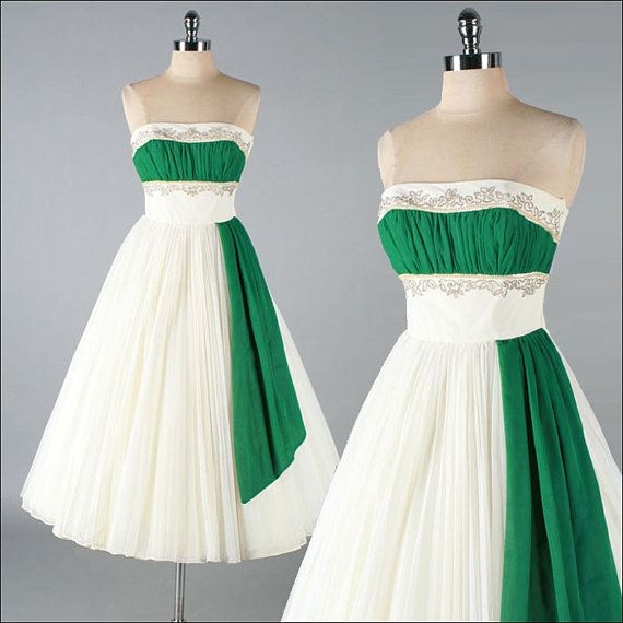 Vintage 1950s Dress . White Green Chiffon . Beaded Strapless . 3202